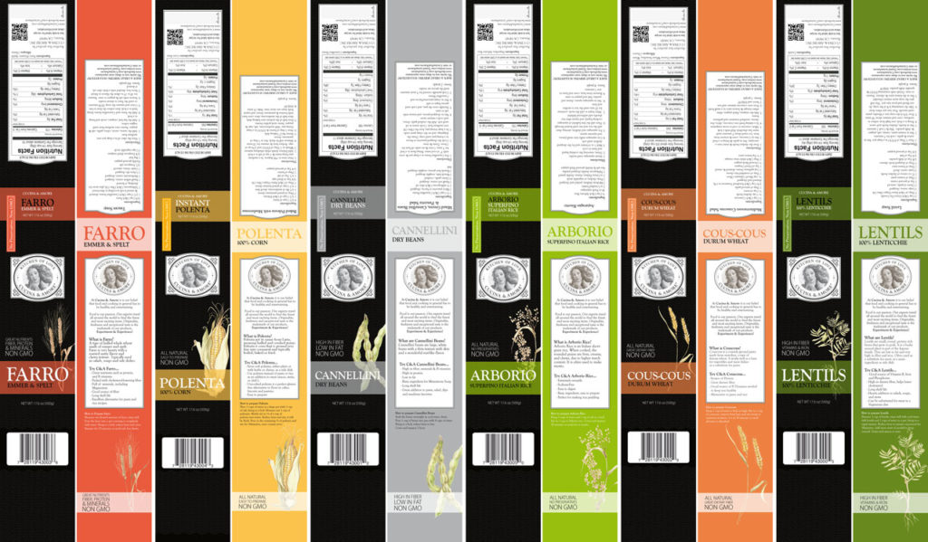 Alcune delle etichette e fascette realizzate per Cucina&Amore.